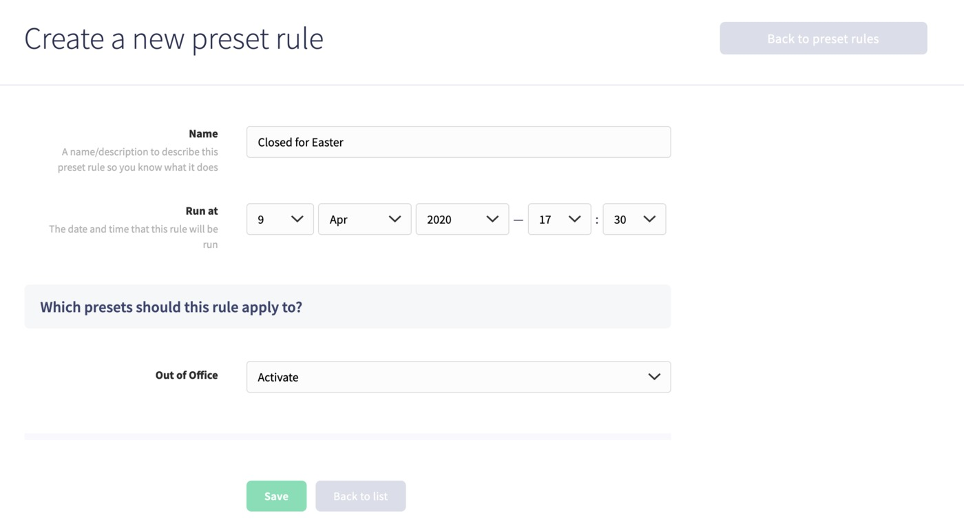 Creating a new Preset Rule