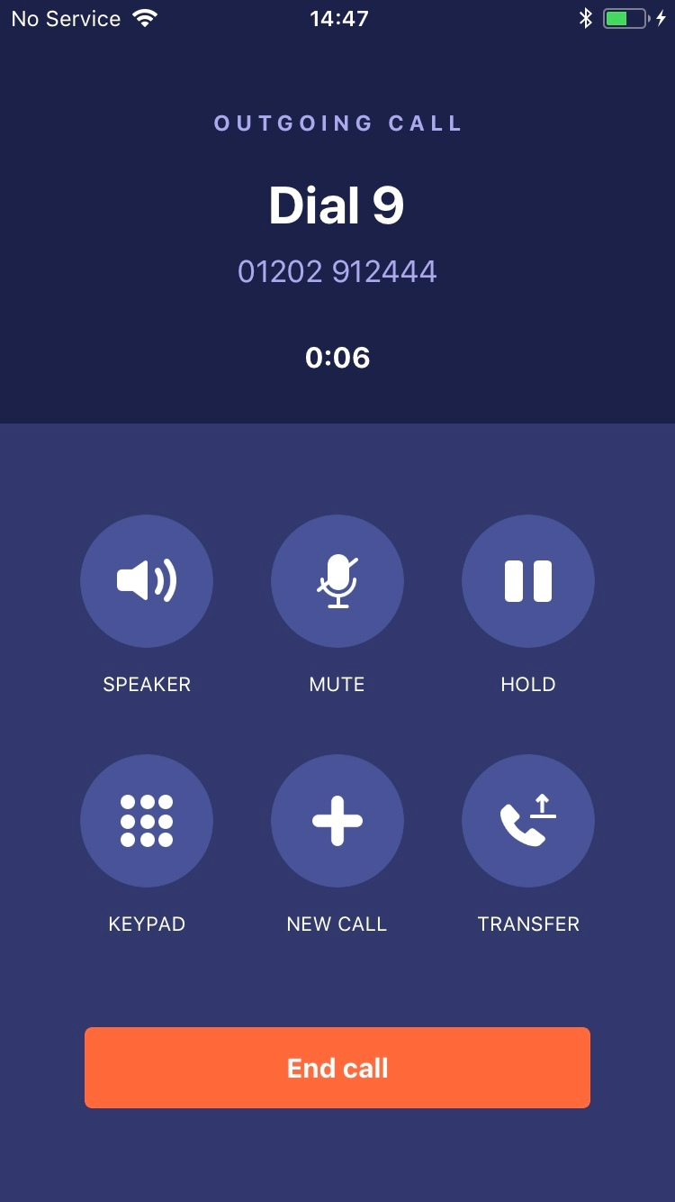 Dial 9 Phone - call screen