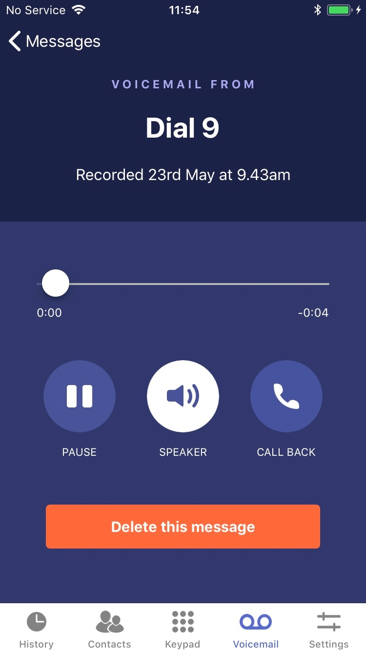 Dial 9 Phone - voicemail player