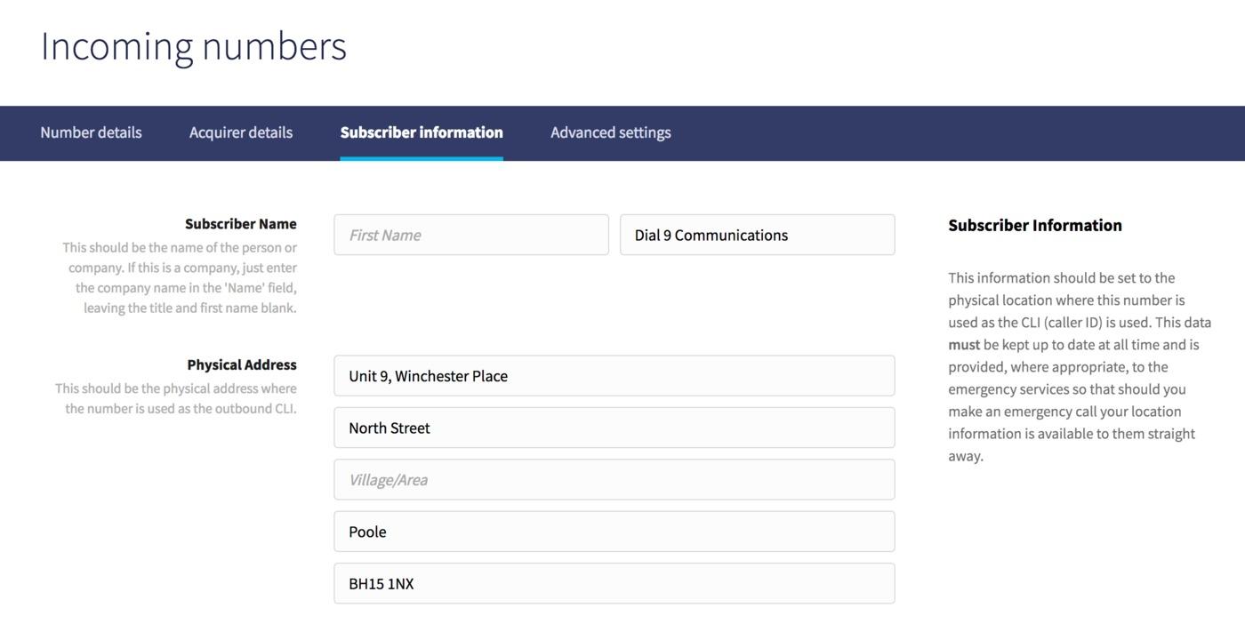 Subscriber information